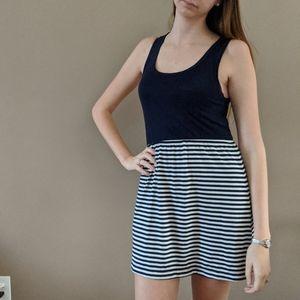 Rewind Navy Blue Tank Dress with Stripes